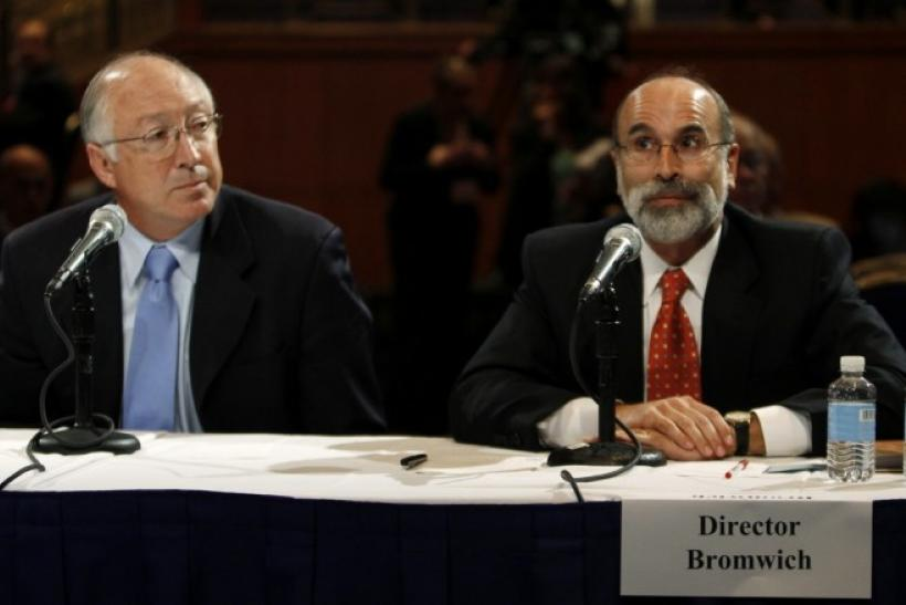 "Michael Bromwich, Director, Bureau of Ocean Energy Management, Regulation, and Enforcement testifies as U.S. Secretary of the Interior Ken Salazar (L) watches during the ""Future of Offshore Drilling"" panel at the National Commission on the BP De"