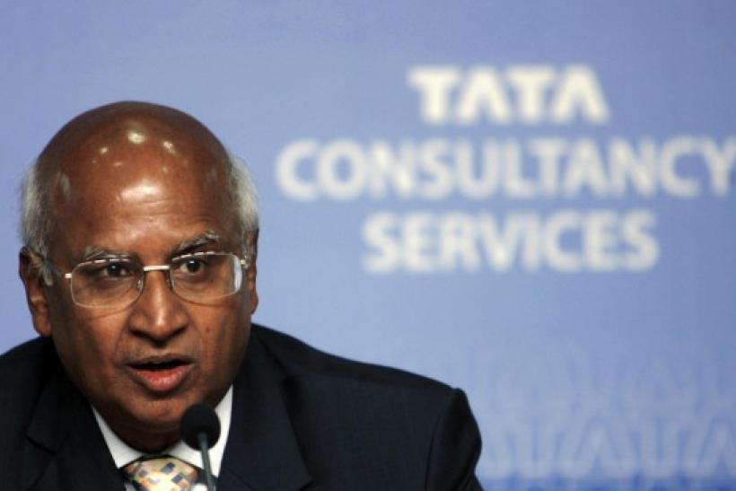 S. Ramadorai, chief executive officer of Tata Consultancy Services (TCS), speaks during a news conference to announce quarterly financial results in Mumbai October 22, 2008.