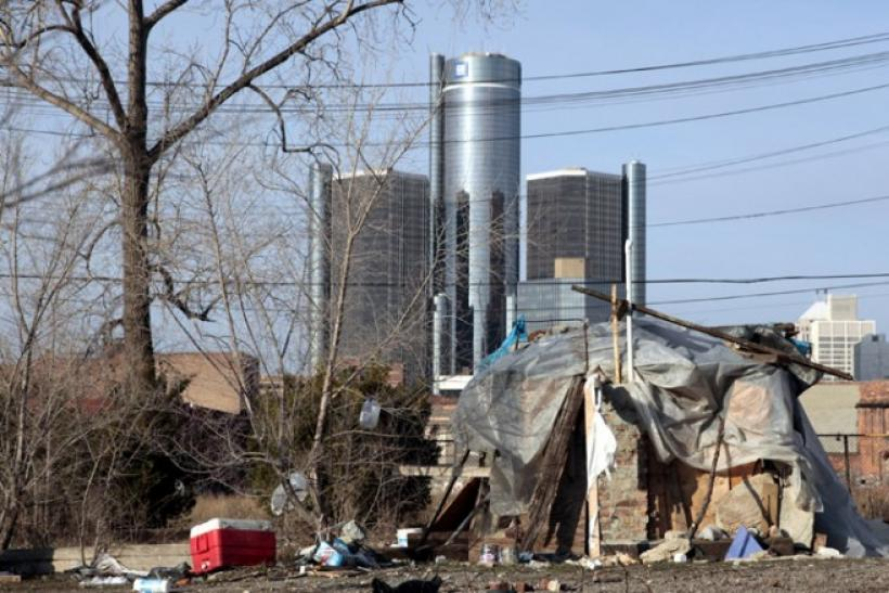 A makeshift homeless persons' structure is seen in Detroit.