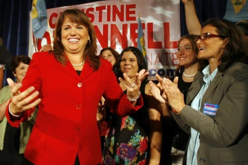 Christine O'Donnell celebrates her win in the Republican primary. in 2010
