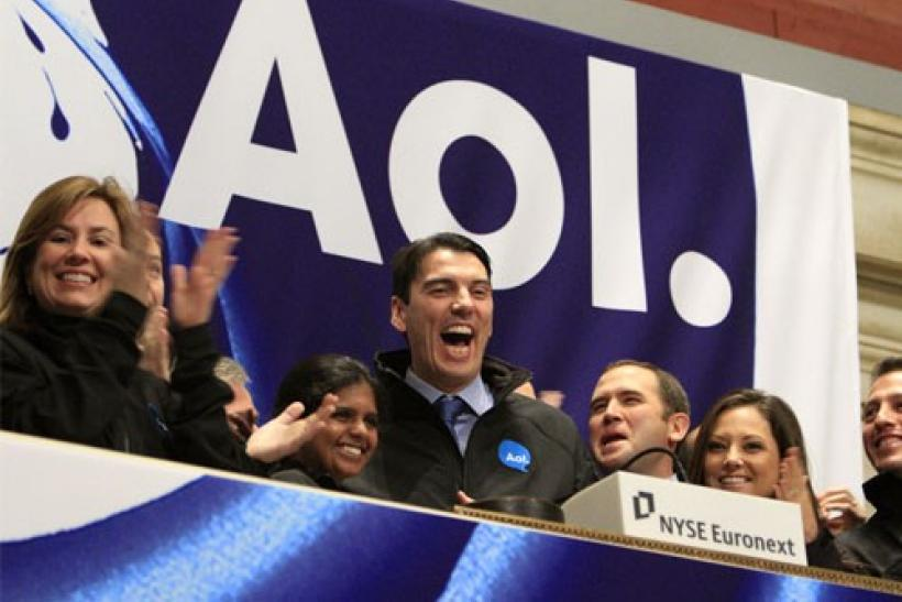 AOL Inc. CEO Tim Armstrong (C) seen with other company representatives at the New York Stock Exchange
