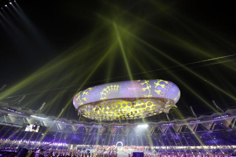 A general view shows the illuminated Jawaharlal Nehru Stadium