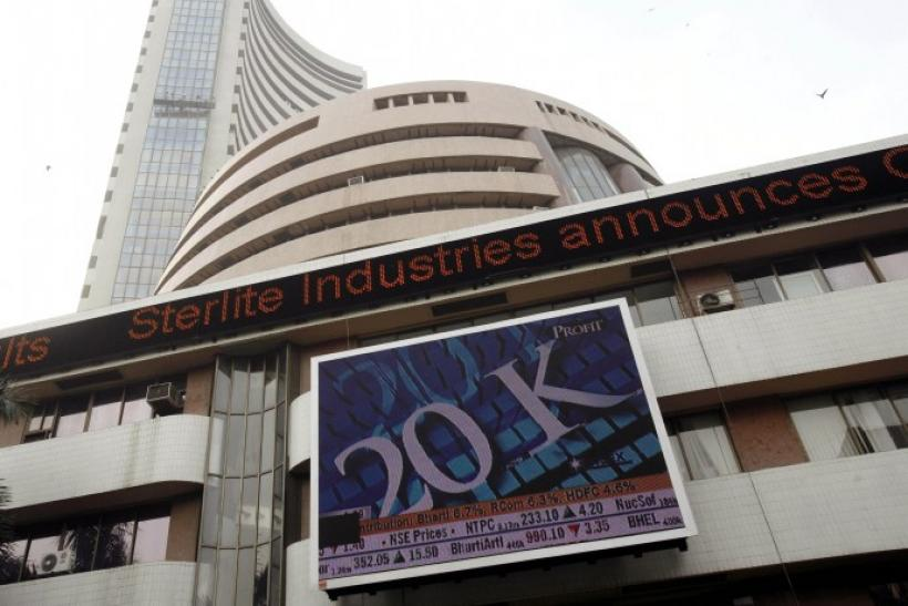 India's benchmark share index is displayed on the facade of the Bombay Stock Exchange (BSE) building in Mumbai October 29, 2007. India's main share index crossed 20,000 for the first time on Monday, boosted by strong overseas markets and led by gains in R