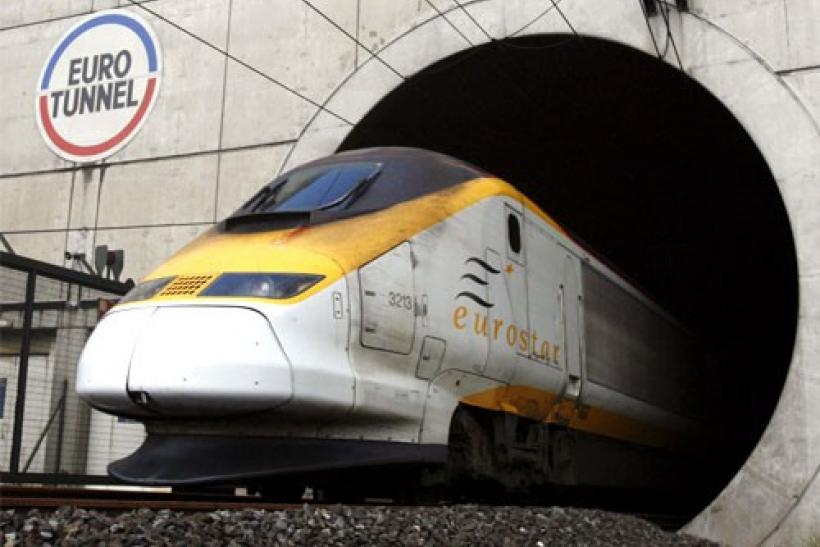 A high-speed Eurostar train leaves the Channel tunnel near the Eurotunnel terminal of Coquelles near Calais, northern France
