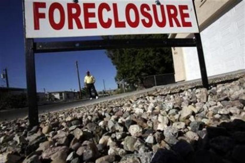 Foreclosure sign is seen
