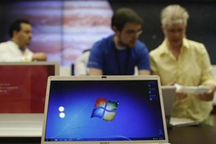 Customers shop at Microsoft's first retail store during the grand opening in Scottsdale