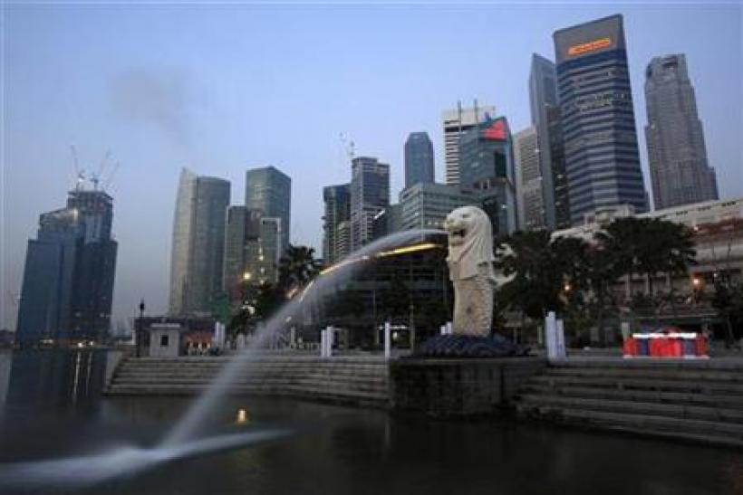 A general view of Singapore's financial district from Merlion Park