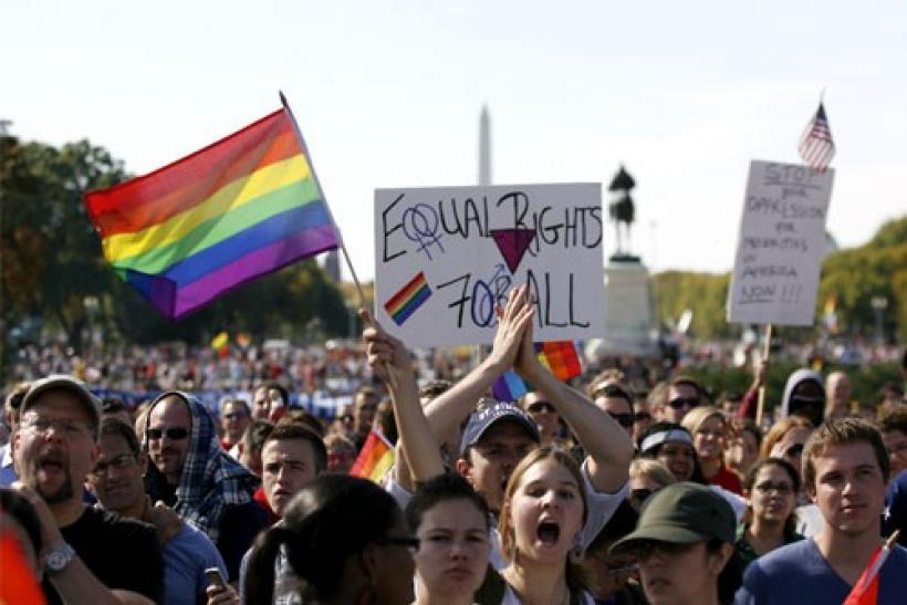 Thousands of people gather during a gay rights demonstration in Washington