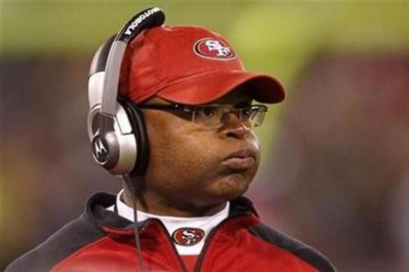 San Francisco 49ers head coach Mike Singletary reacts on the sidelines against the Philadelphia Eagles during their NFL football game in San Francisco, California October 10, 2010.