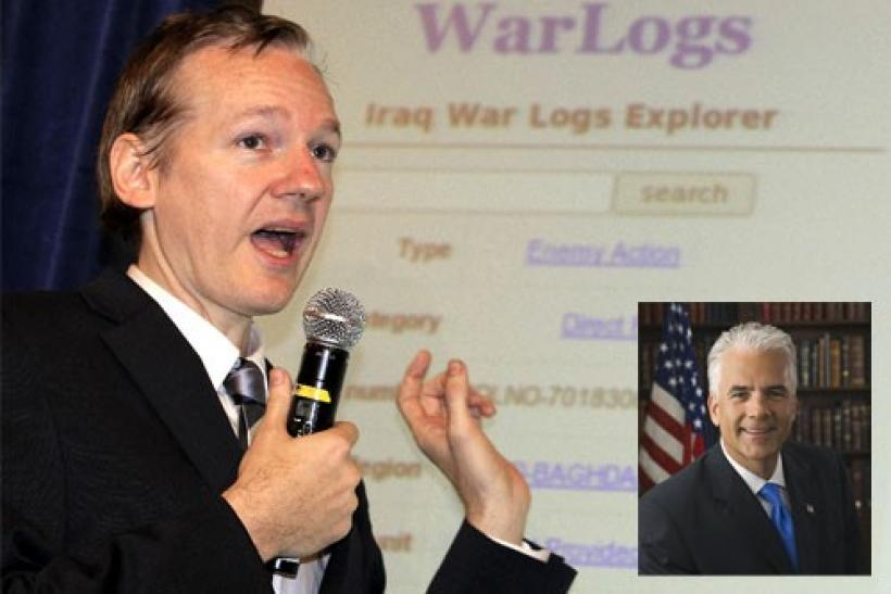 Wikileaks founder Julian Assange speaks during a news conference about the internet release of secret documents about the Iraq War, in London October 23, 2010 and (inset) Senator John Ensign (R-Nevada)
