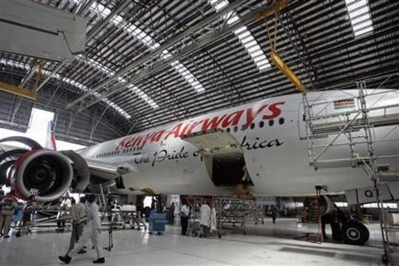 Kenya Airways Boeing B777-200ER plane is seen during a media tour at their maintenance hangar in Nairobi