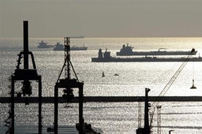 Oil and gas tankers are seen anchored off Marseille harbour, southeastern France