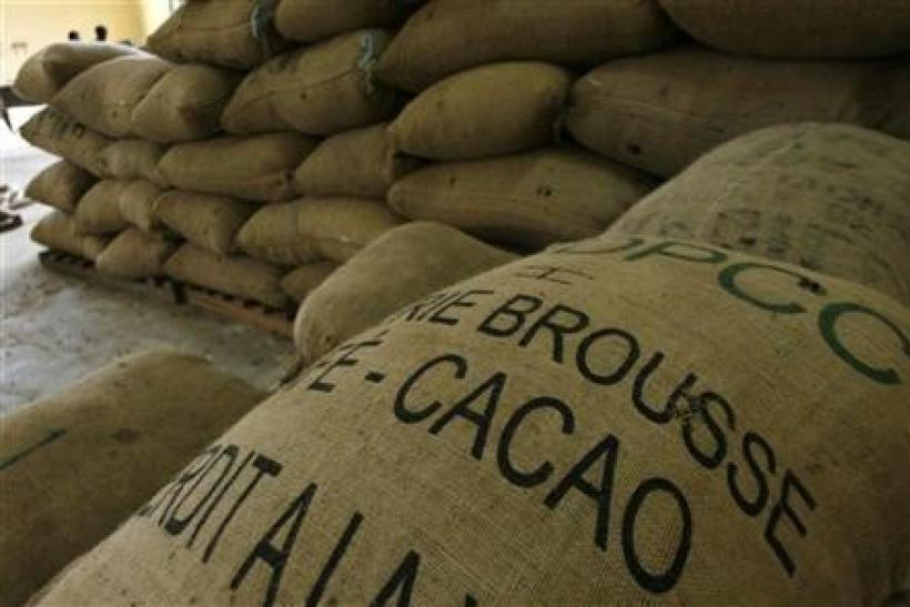 Cocoa bags are seen in a warehouse in Gonate, western Ivory Coast,