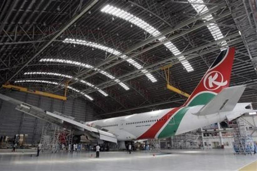A Kenya Airways Boeing B777-200ER plane is seen during a media tour at their maintenance hangar in Nairobi
