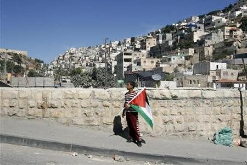 A Palestinian boy holds a flag after a visit of Israeli parliament members to the mostly Arab neighbourhood of Silwan in East Jerusalem