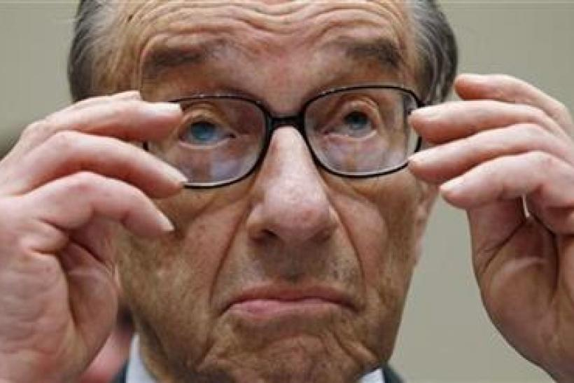 Greenspan listens to opening statements as he testifies before the Financial Crisis Inquiry Commission hearing on Capitol Hill