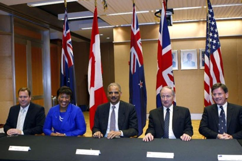 Australia's Attorney General Robert McClelland (far left) and his U.S. counterpart Eric Holder (c) are seen at a Quintet meeting composed of the Attorneys General from the U.S., Australia, Canada, New Zealand and the U.K. at the U.S. Justice Dept., Wash.