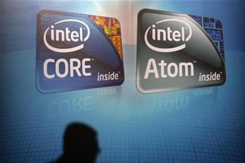 A shadow is cast on an Intel advertisement