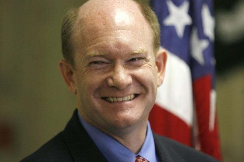 Delaware Democratic Senator Chris Coons smiles while speaking during a campaign event in Newark, Delaware, October 29, 2010.