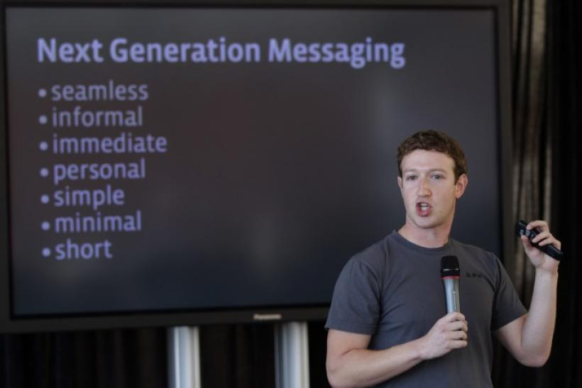 Facebook CEO Mark Zuckerberg unveils a new messaging system during a news conference in San Francisco