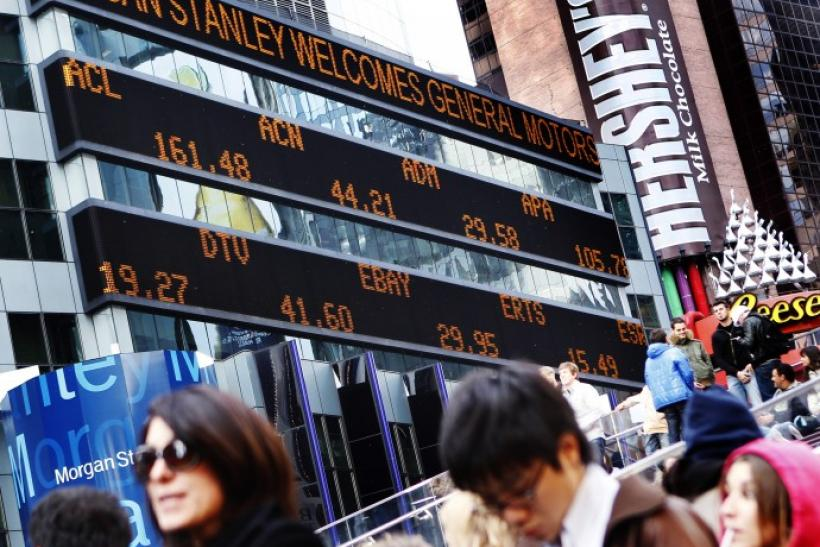 A message welcoming General Motors is seen on the Morgan Stanley stock ticker at their world headquarters in New York