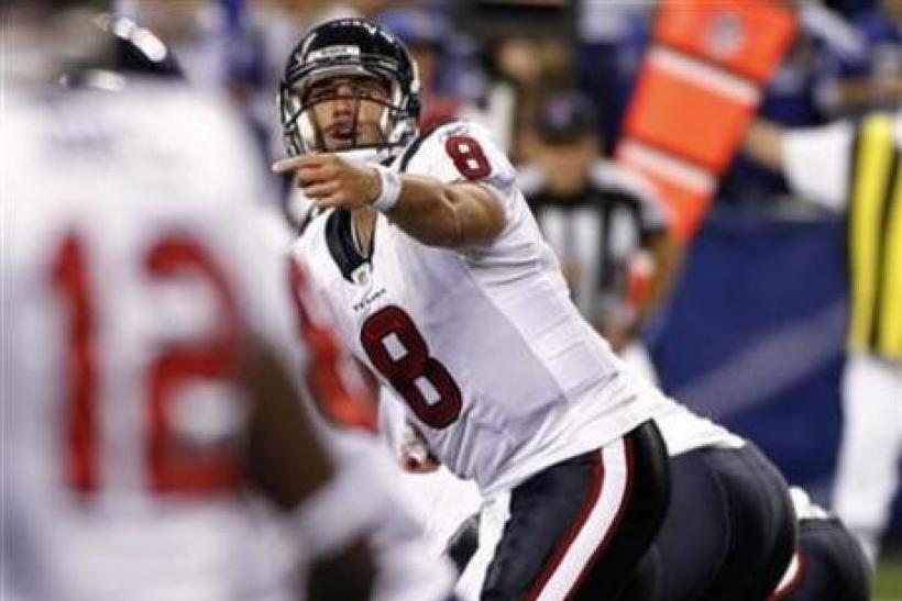 Houston Texans quarterback Matt Schaub (8) in Indianapolis November 1, 2010.