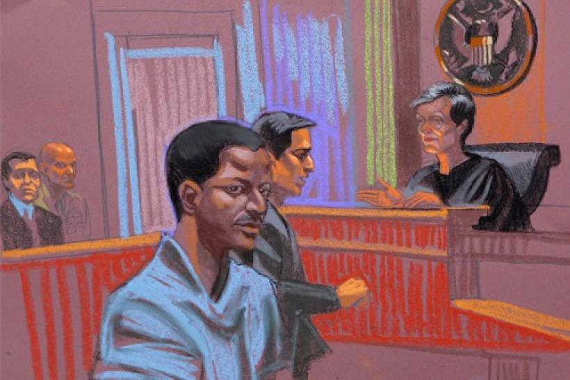 Ahmed Khalfan Ghailani, a Tanzanian held at the U.S. naval base in Cuba since 2006 accused of involvement in the bombing of U.S. embassies in Africa, is depicted in this courtroom sketch of his arraignment, in New York, June 9, 2009