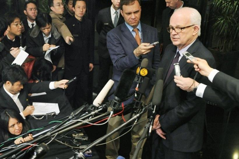 U.S. Special Representative for North Korea Stephen Bosworth speaks to reporters after a meeting with Chinese officials at a hotel in Beijing November 23, 2010.
