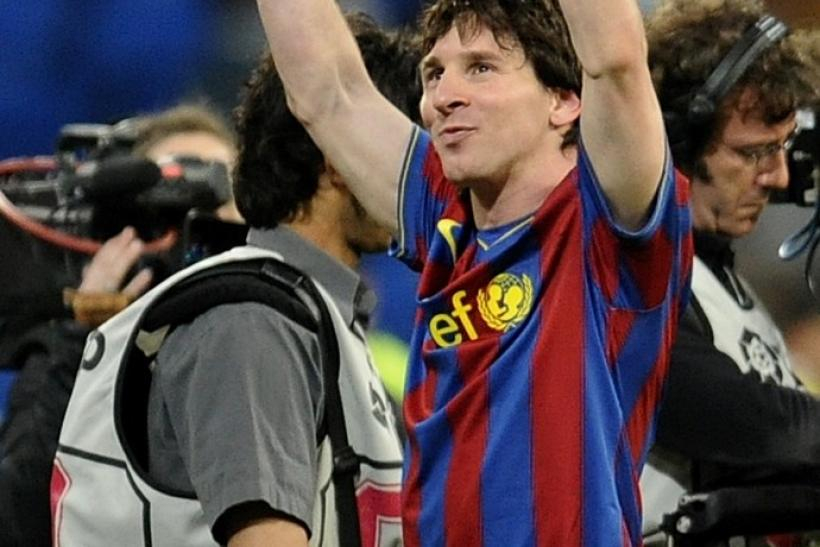 Barcelona's Messi celebrates after their Spanish first division soccer match against Real Madrid in Madrid on 10/04/2010.