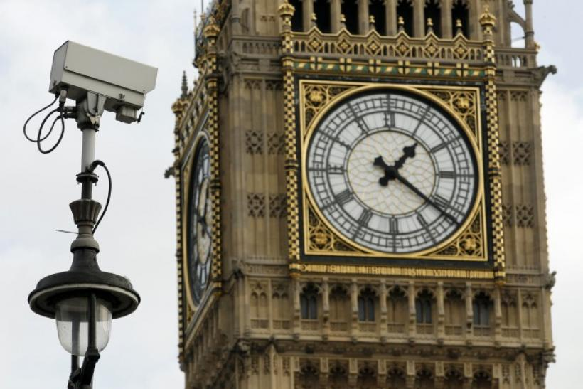 Surveillance camera points towards Parliament Square, in front of the Big Ben Clock Tower in London