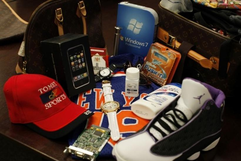 Counterfeit goods seized by the U.S. government are shown on display at the National Intellectual Property Rights Coordination Center in northern Virginia, October 7, 2010.
