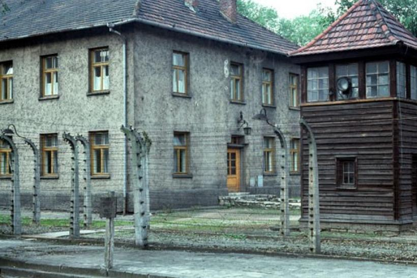 View of barbed wire fence at the Auschwitz ' former Nazi death camp in Poland, August 1978