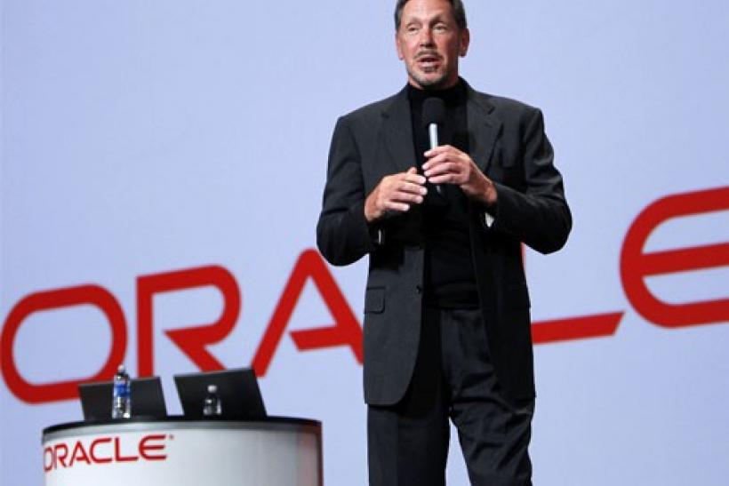 Oracle CEO Larry Ellison talks during his keynote address at Oracle Open World in San Francisco, California
