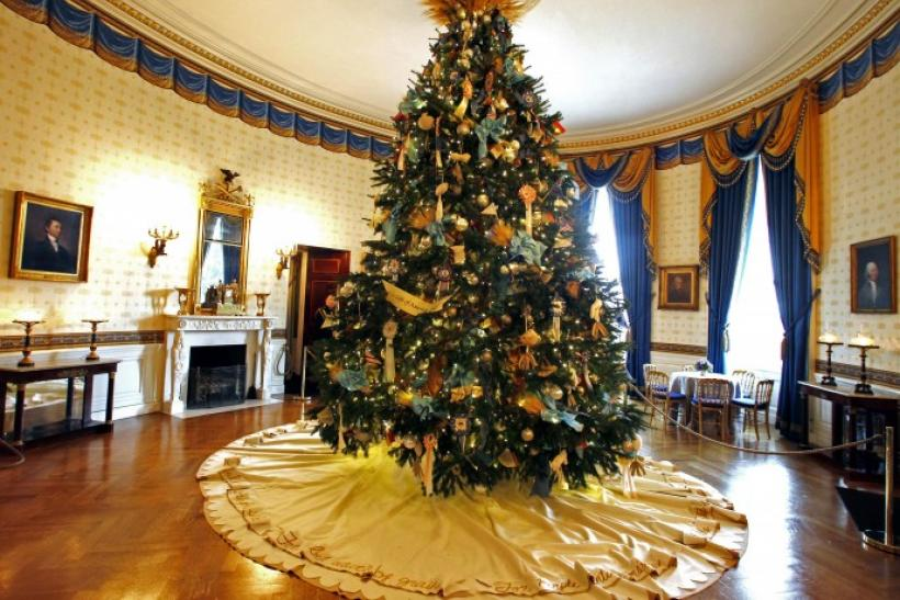 A Christmas tree is seen inside the Blue Room of the White House in Washington