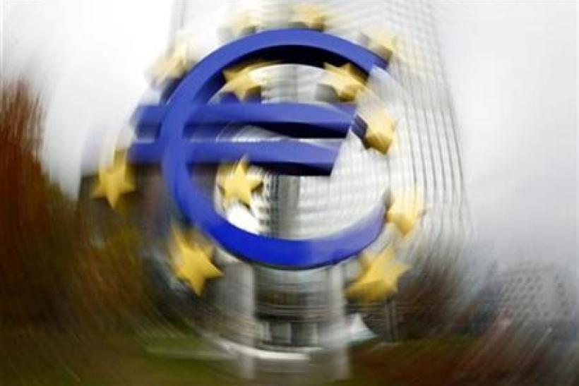 Large euro sign installation is seen in front of the European Central bank headquarters in Frankfurt
