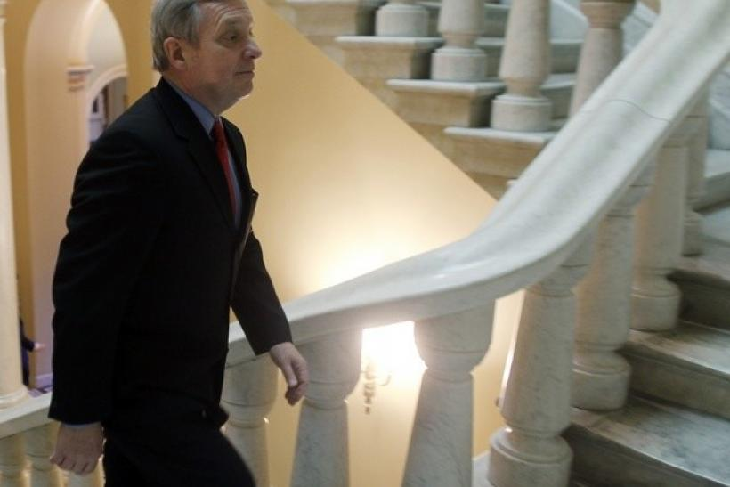U.S. Senator Richard Durbin, D-IL, walks upstairs on Capitol Hill in Washington, December 24, 2009.