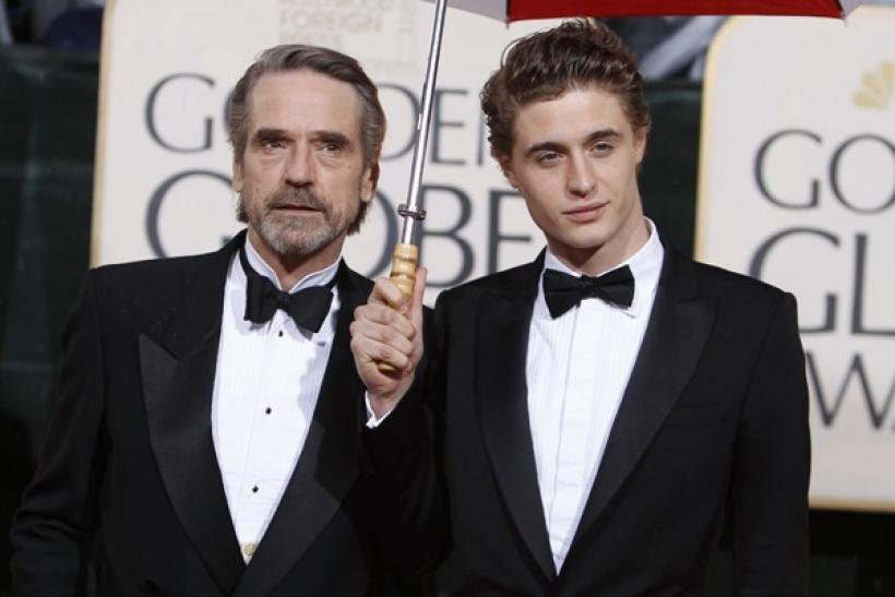 British actor Jeremy Irons arrives with his son