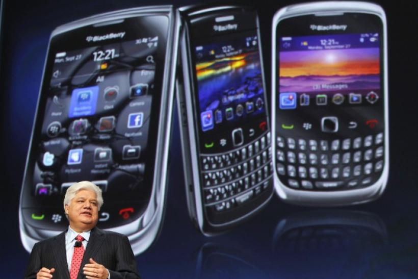 Mike Lazaridis, president and co-chief executive officer of Research in Motion, speaks at the RIM Blackberry developers conference in San Francisco