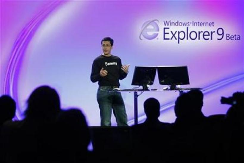 Microsoft vice president Dean Hachamovitch unveils Internet Explorer 9 Beta version in San Francisco
