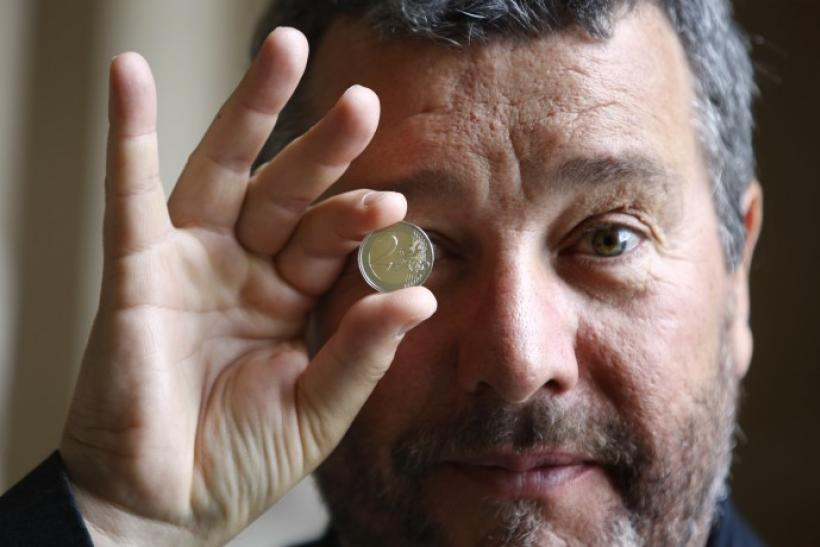 French designer Philippe Starck presents his 2 new Euros coin to mark French European Union presidency at the Hotel de la Monnaie