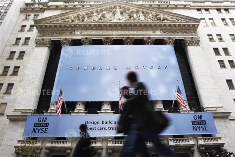 A General Motors banner is seen at the entrance of the New York Stock Exchange