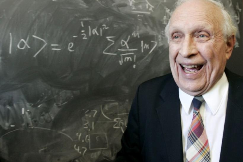 Nobel Physics Prize winner Glauber smiles in office at Harvard University