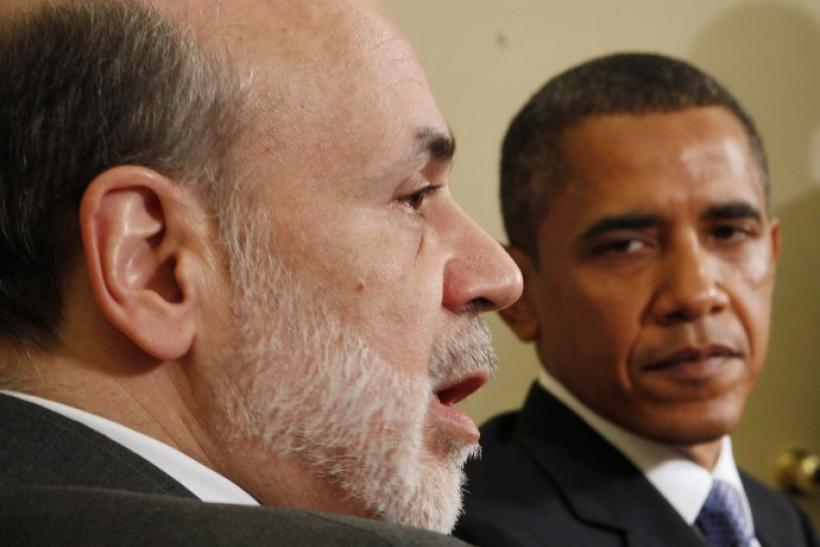 U.S. President Obama meets with Chairman of the Federal Reserve Bernanke at the White House in Washington