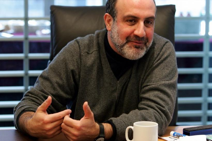 Nassim Taleb speaks to reporters at the Reuters Finance Summit in New York