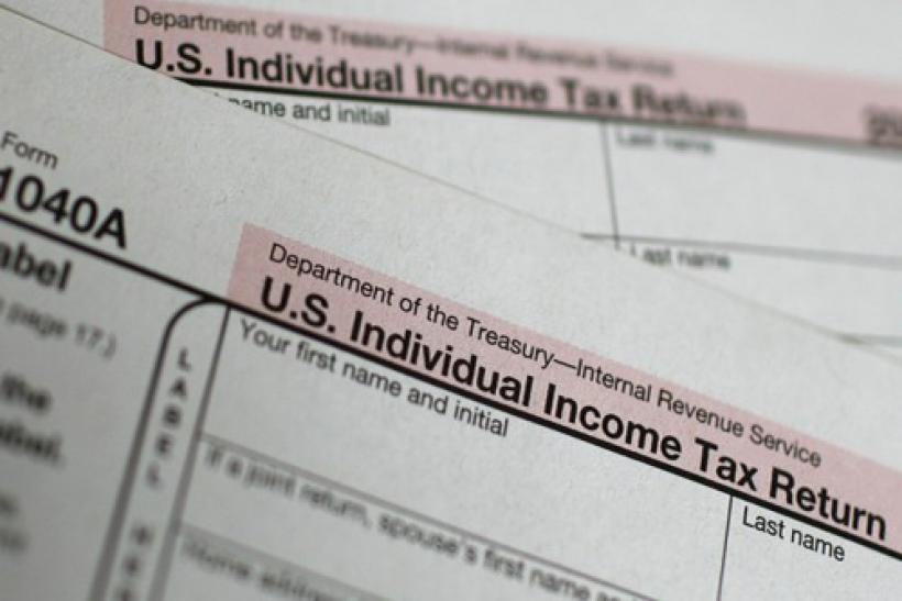 A U.S. 1040A Individual Income Tax form is seen at a U.S. Post office in New York