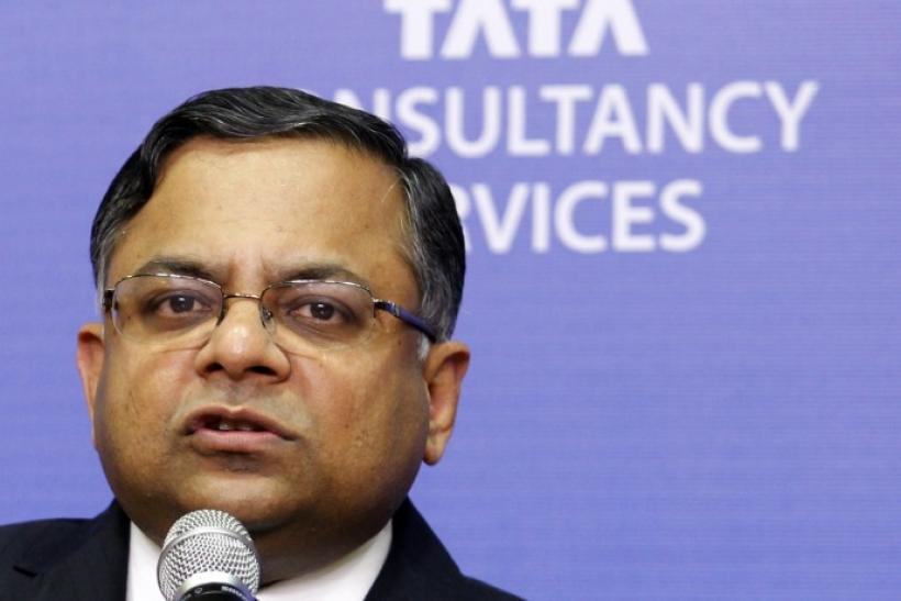 N. Chandrasekaran, chief executive of Tata Consultancy Services, speaks during a news conference in Mumbai