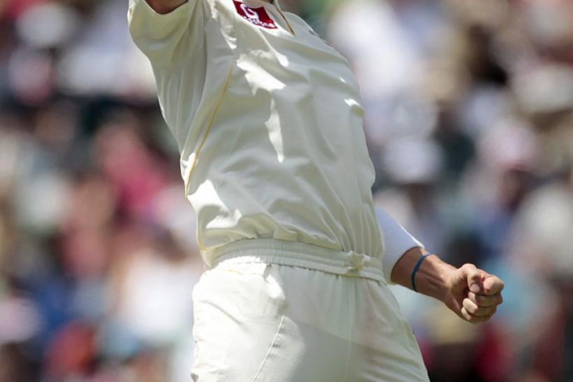 Australia's Siddle celebrates taking the wicket of England's Prior during their third Ashes test in Perth.