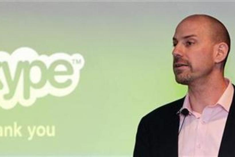 Skype CEO Silverman speaks at a news conference during his first official visit in Taipei