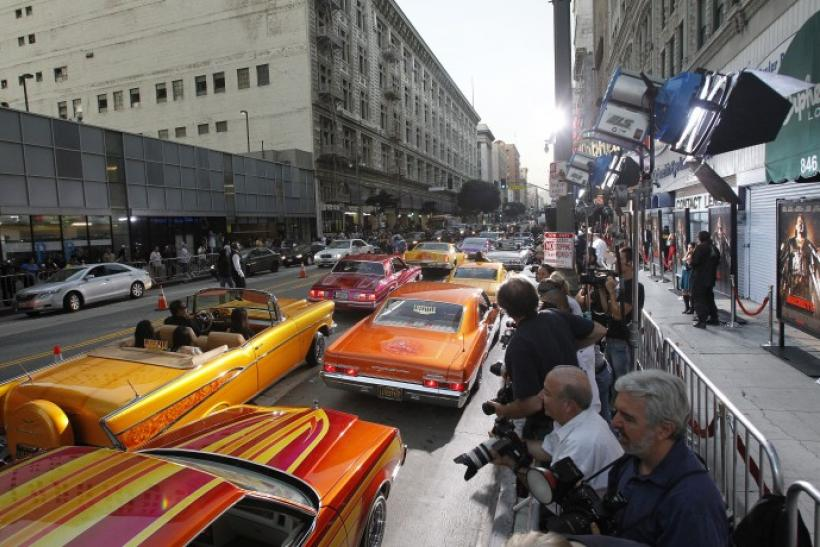 Lowrider cars are parked at the premiere of Machete in Los Angeles