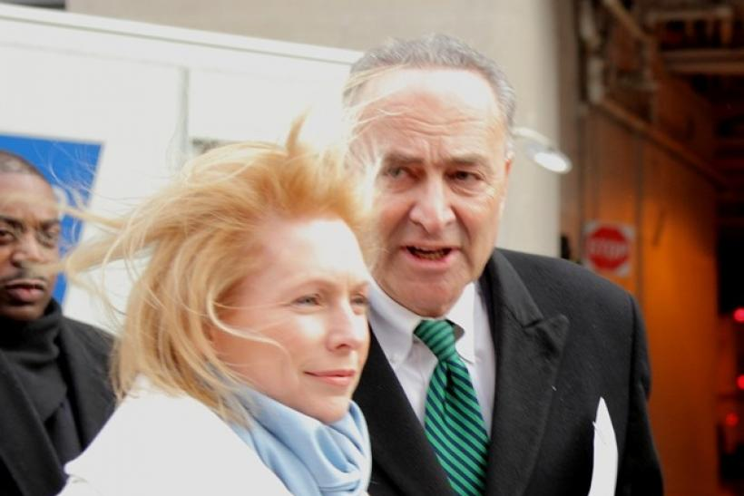 Sen. Kirsten Gillibrand, D-NY and Sen. Charles Schumer D-NY, arrive at a press conference near Ground Zero in New York on December 23, 2010.